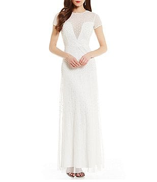 Adrianna Papell Short-Sleeve Beaded Bridal Gown