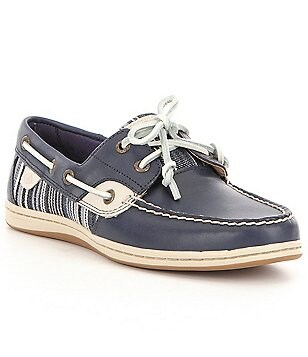 Sperry Koifish Denim Stripe Leather and Textile Lace-Up Boat Shoes