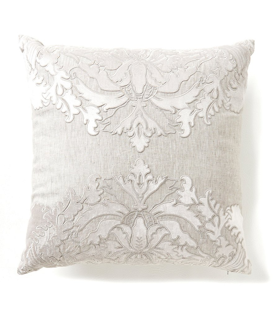Southern Living Holiday Heirloom Linen Embroidered Square Pillow