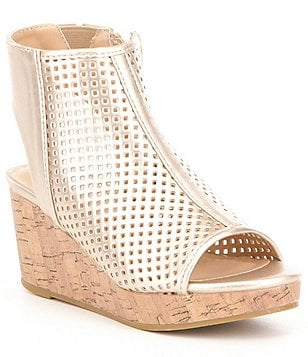Kenneth Cole New York Girl´s Corrine Charlo Metallic Perforated Wedge Sandals