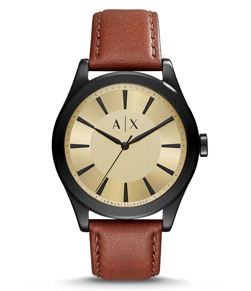 AX Armani Exchange Nico Leather-Strap Watch