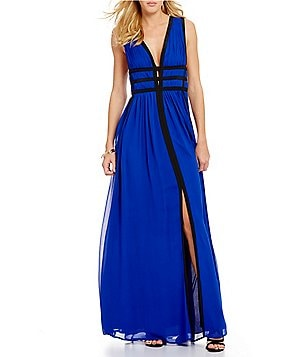 Nicole Miller Collection Sleeveless Gladiator Combo Plunging Gown