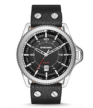 Diesel Rollcage Analog Leather-Strap Watch