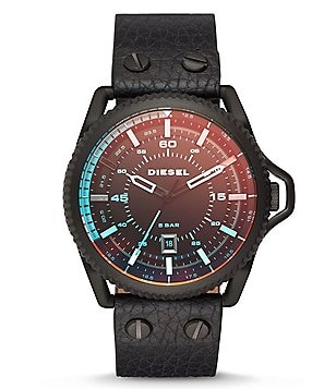 Diesel Rollcage Analog & Date Leather-Strap Watch