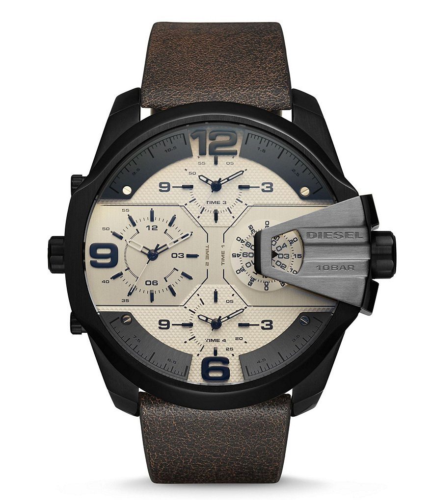 Diesel Uber Chief Multi-Movement Leather-Strap Watch