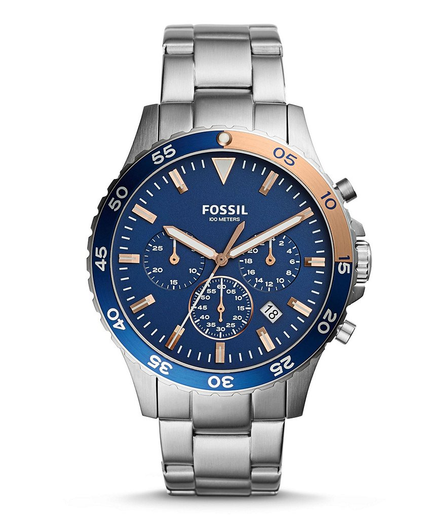 Fossil Crewmaster Sport Chronograph Stainless Steel Bracelet Watch