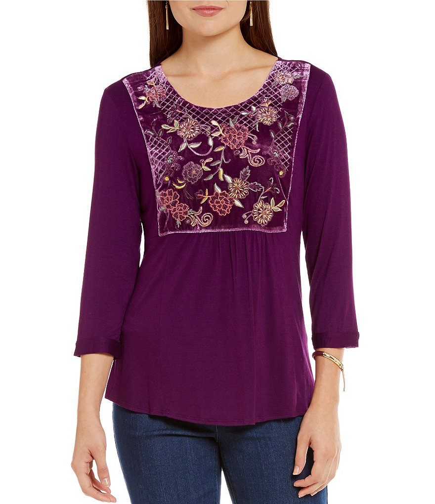 Westbound Petites 3/4 Sleeve Hi-Low Bib Top