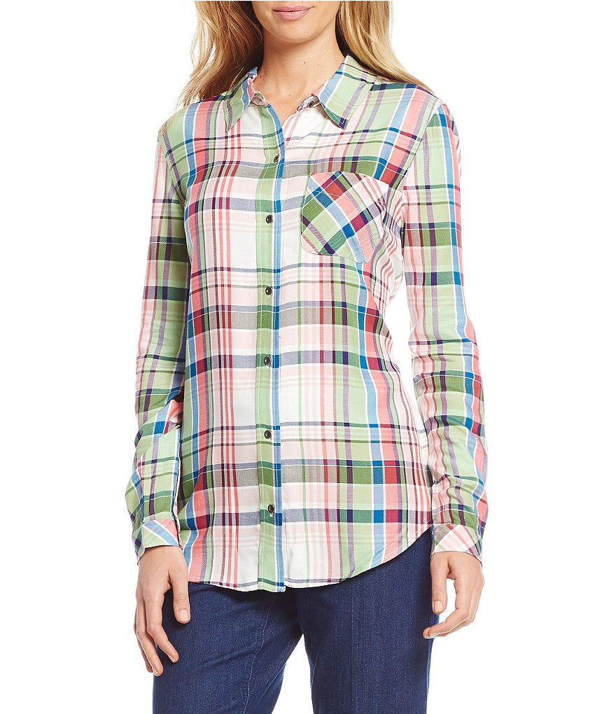 Westbound Petites Point Collar Button-Up Shirt