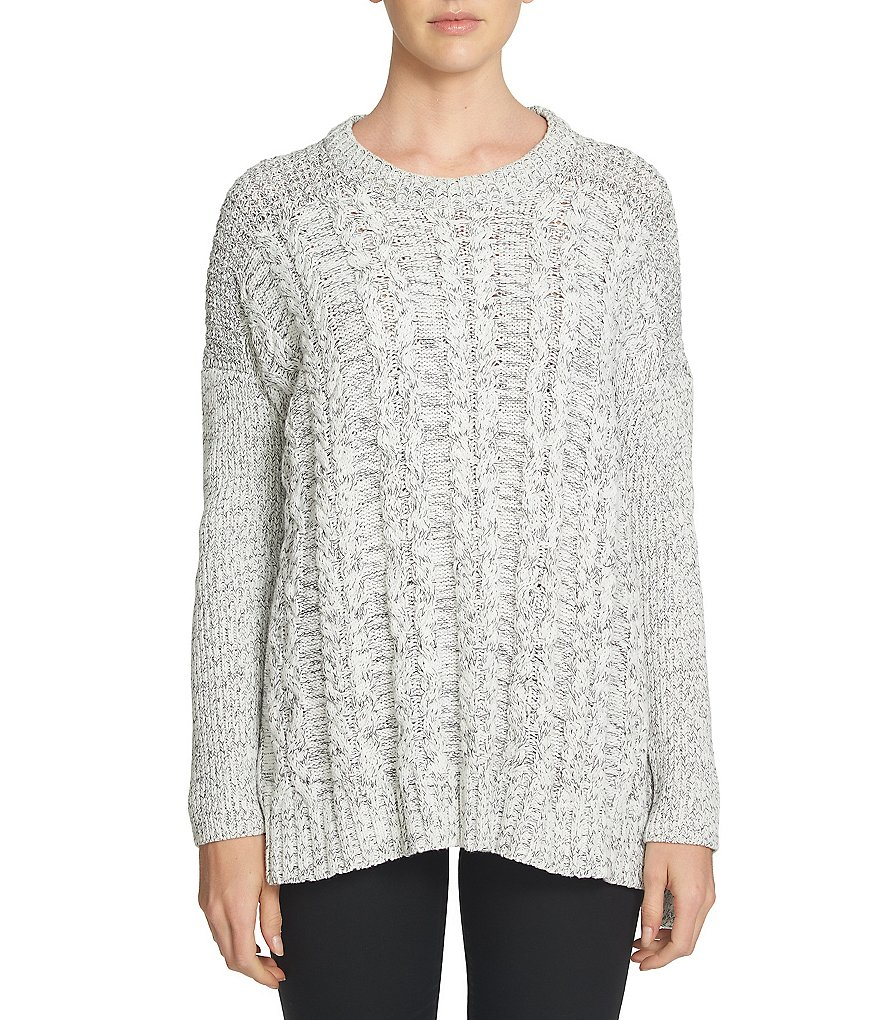 1. STATE Round Neck Long Sleeve Cable Front Sweater