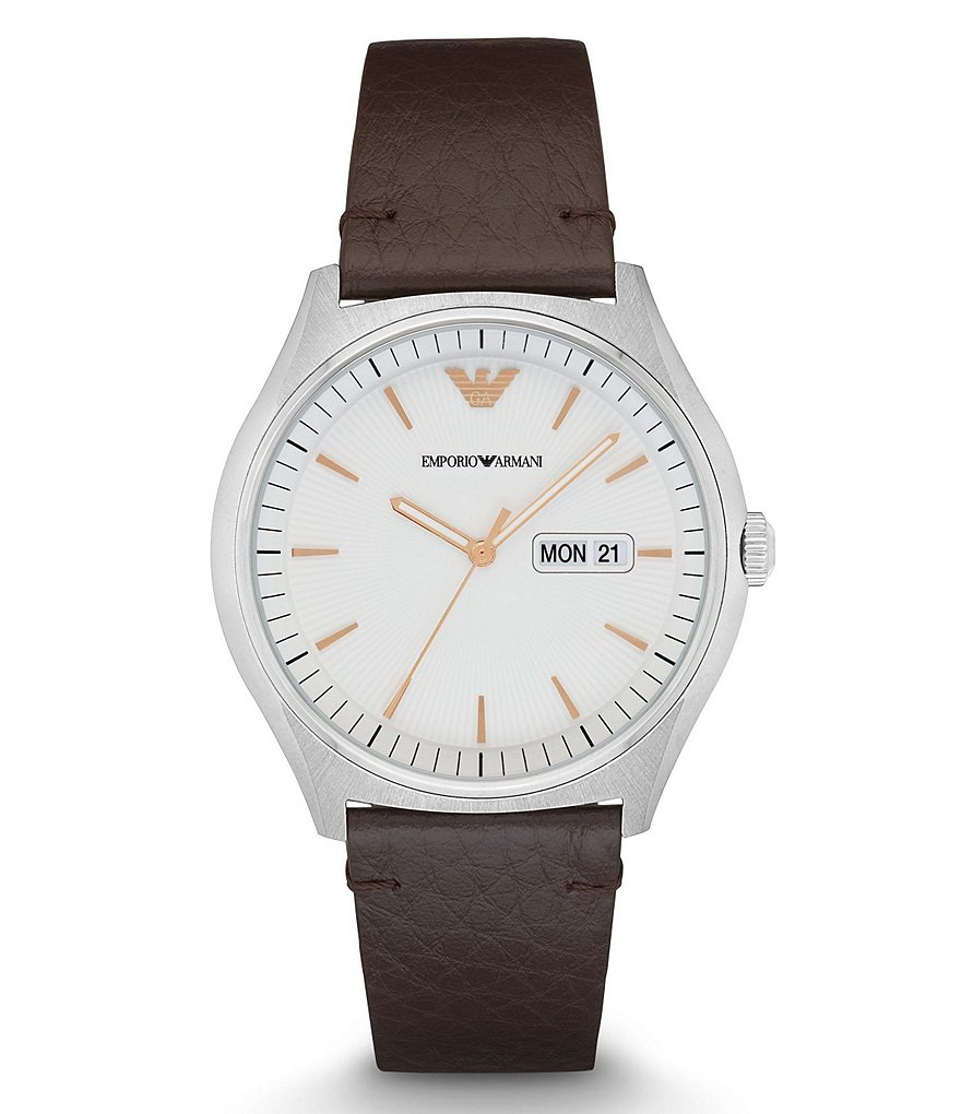 Emporio Armani Analog, Day & Date Leather-Strap Watch