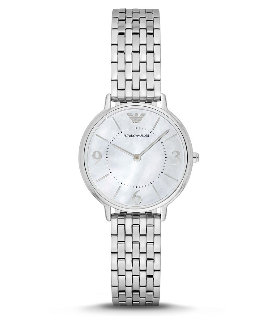 Emporio Armani Mother-of-Pearl Analog Bracelet Dress Watch