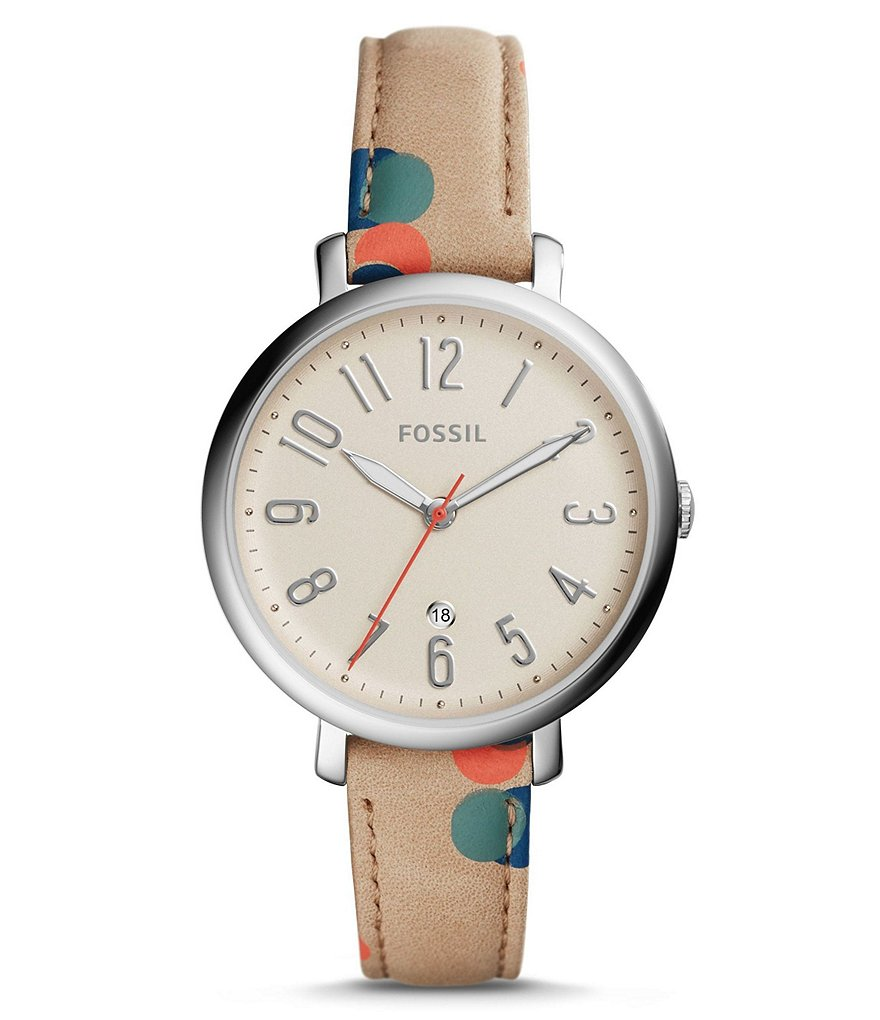 Fossil Jacqueline Analog & Date Polka-Dot Leather-Strap Watch