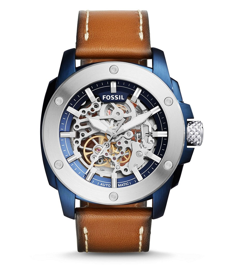 Fossil Modern Machine Sport Automatic Skeleton Leather-Strap Watch