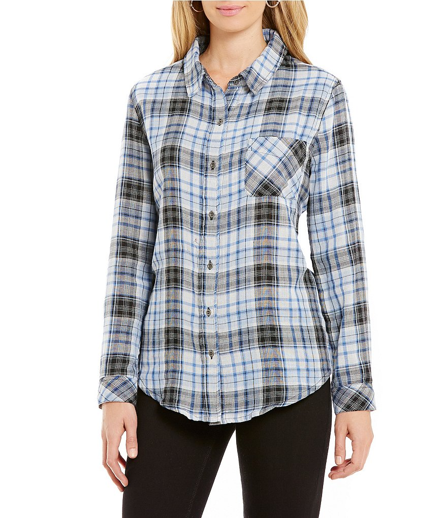 Westbound Long Sleeve Mixed Media Blue Plaid Button-Front Shirt