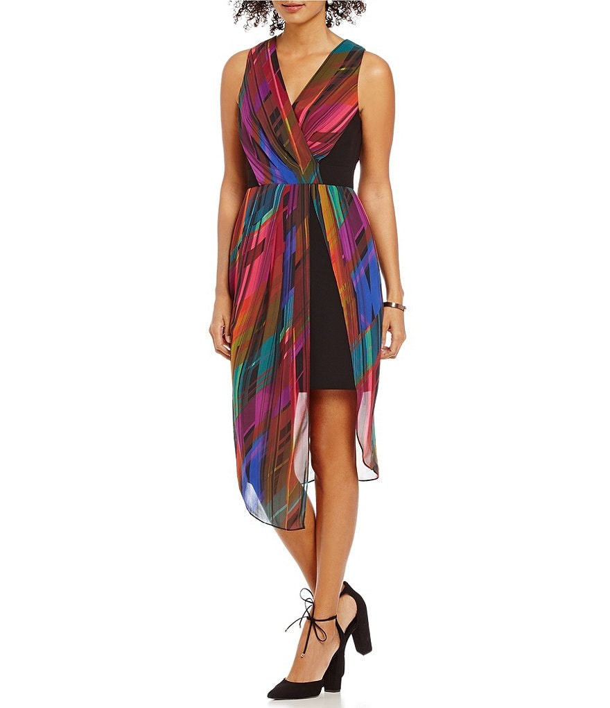 Laundry by Shelli Segal Surplice V-Neck Illusion Printed Crepe Dress