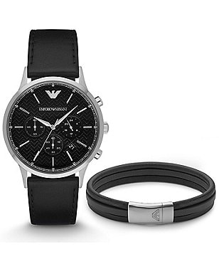Emporio Armani Chronograph & Date Leather-Strap Watch & Bracelet Gift Set