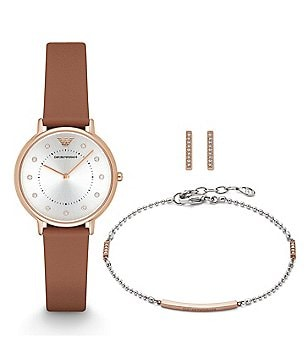 Emporio Armani Watch, Earrings & Bracelet Gift Set