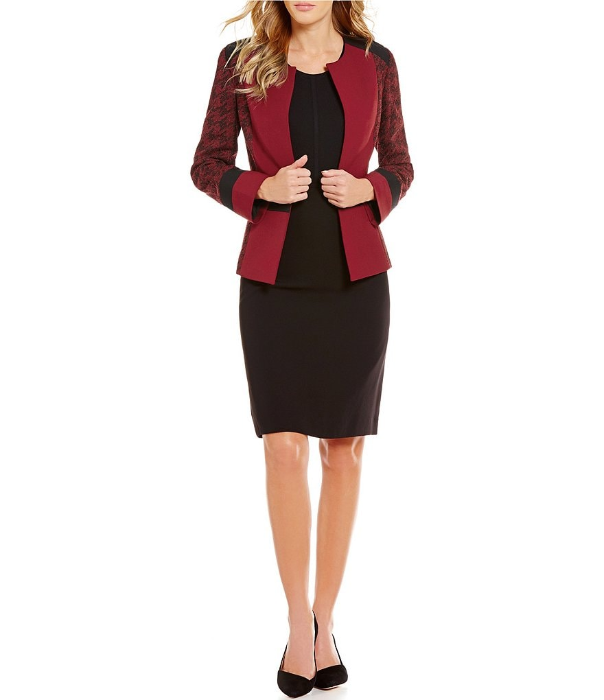 Preston & York Bobbi Houndstooth Blazer Jacket & Kelly Houndstooth Pencil Skirt