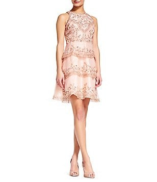 Adrianna Papell Halter Neck Sleeveless Tiered Beaded Orgnaza Dress