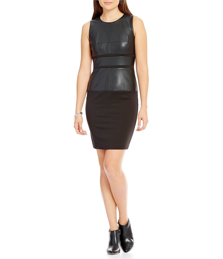 Ivanka Trump Ponte Knit With Faux-Leather Trim Sheath Dress