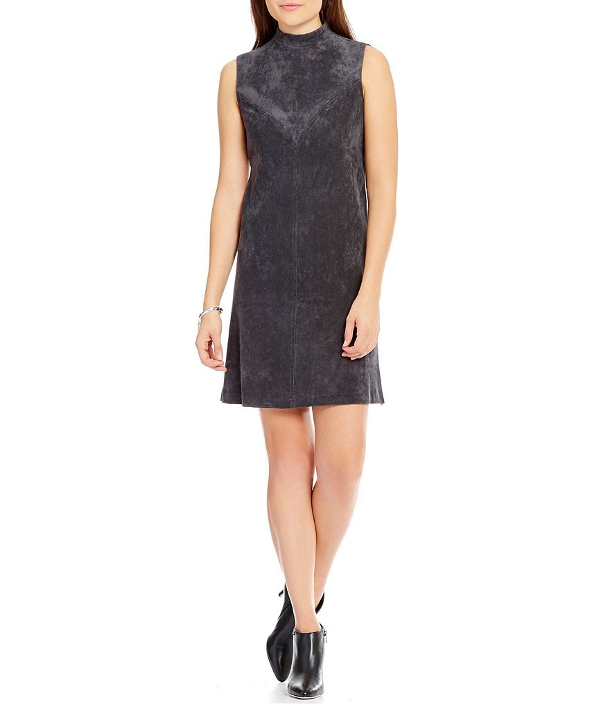 Ivanka Trump Faux Suede Mock Neck A-Line Dress