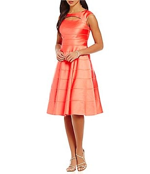 Kay Unger Tiered Stretch Satin Fit-and-Flare Dress