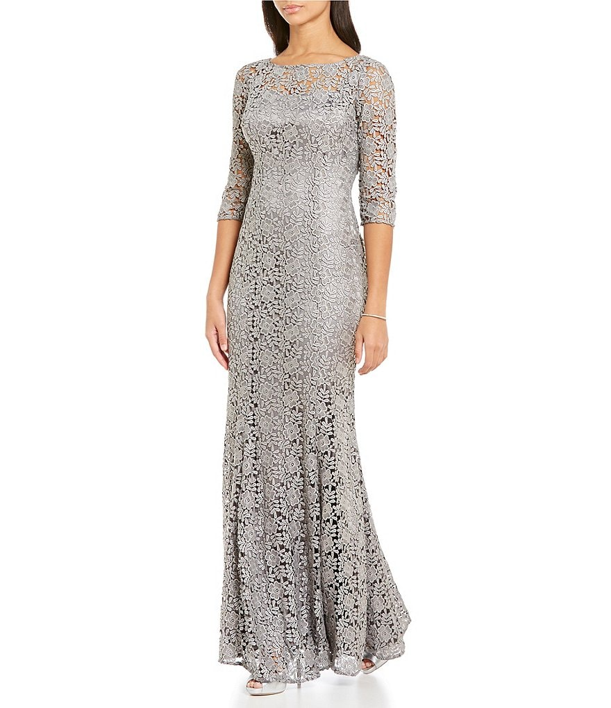 Kay Unger 3/4 Sleeve Metallic Foiled Lace Mermaid Gown