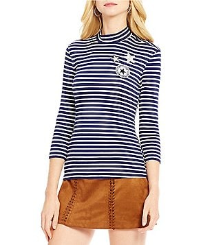 Gianni Bini Star Patch Mock Neck 3/4 Sleeve Striped Top