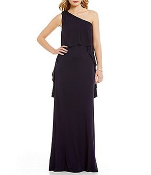 David Meister One Shoulder Pop Over Gown