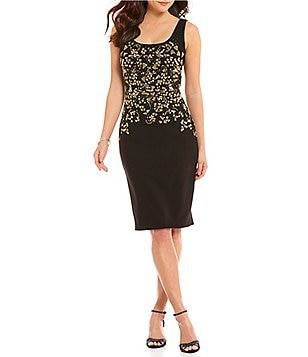 David Meister Square Neck Sleeveless Beaded Bodice Sheath Dress