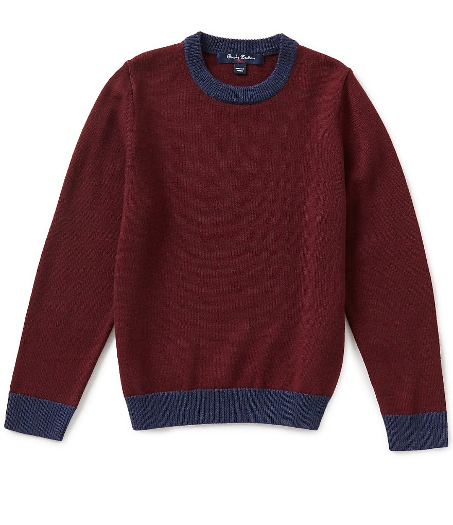 Brooks Brothers Big Boys 8-20 Color Block Elbow-Patch Crew Neck Sweater