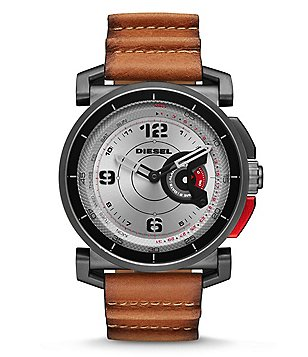 Diesel On Time Hybrid Leather-Strap Smart Watch