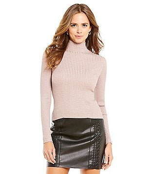 Gianni Bini Libby Rib Lurex Mock Neck Sweater
