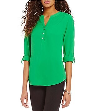 Investments Roll Tab Y-Neck Blouse