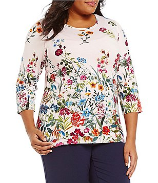 Investments Plus Essentials Printed Scoop Neck 3/4 Sleeve Knit Top