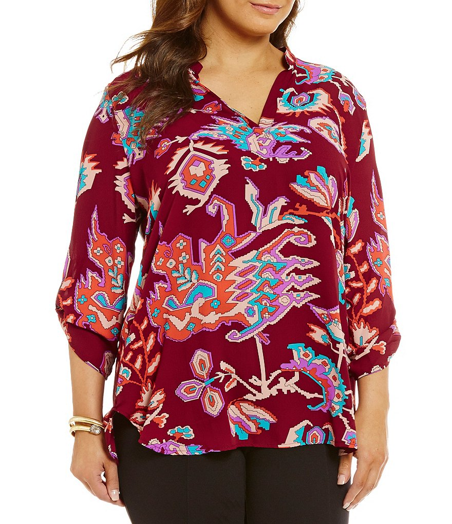 Gibson & Latimer Plus Geo Leaf Print 3/4 Sleeve V-Neck Tunic