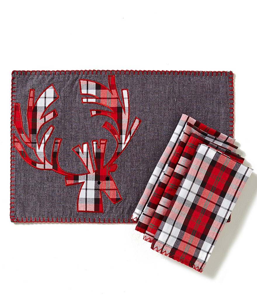Lenox Holiday Plaid Reindeer Table Linens