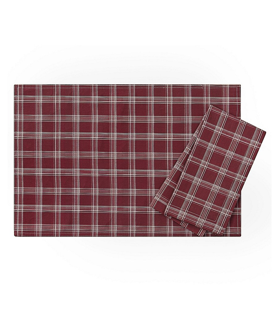 Waterford Plaid Brushed Cotton Table Linens