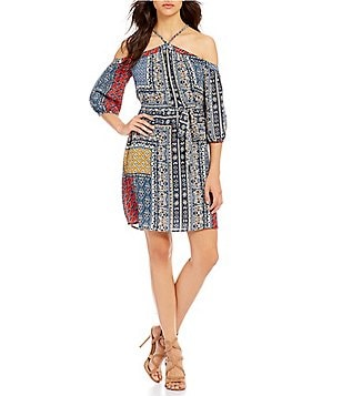 Skies Are Blue Halter Off-the-Shoulder 3/4 Sleeve Printed Dress