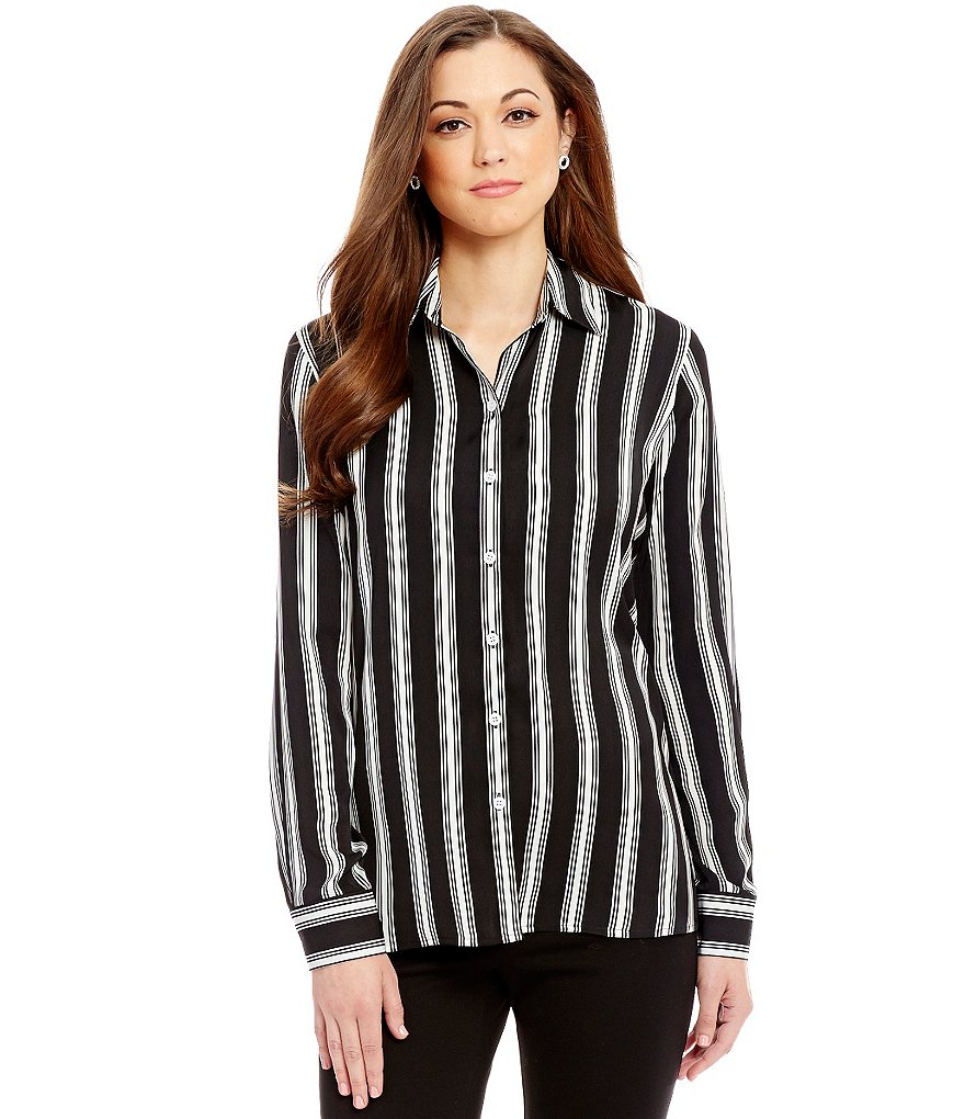 Antonio Melani Felicity Point Collar Long Sleeve Striped Blouse