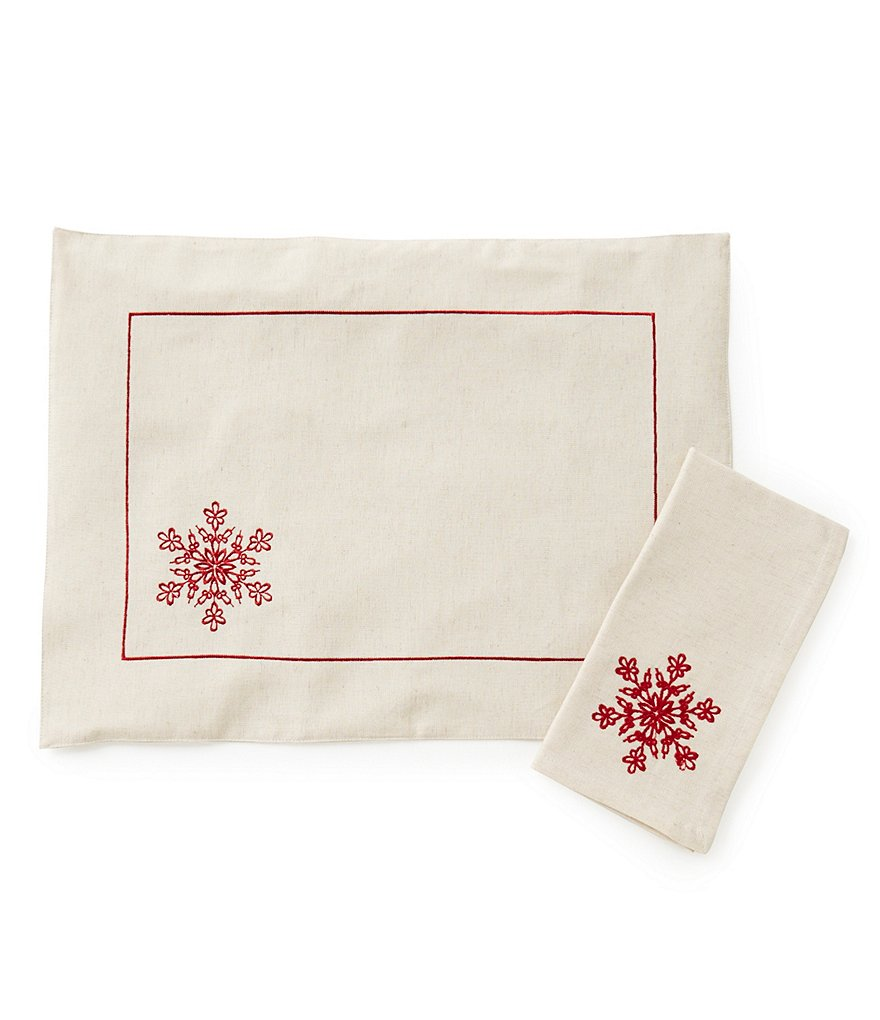 Aman Imports Snowflake-Embroidered Table Linens