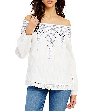 Skies Are Blue Off-the-Shoulder Long Sleeve Scalloped Lace Hem Embroidered Top