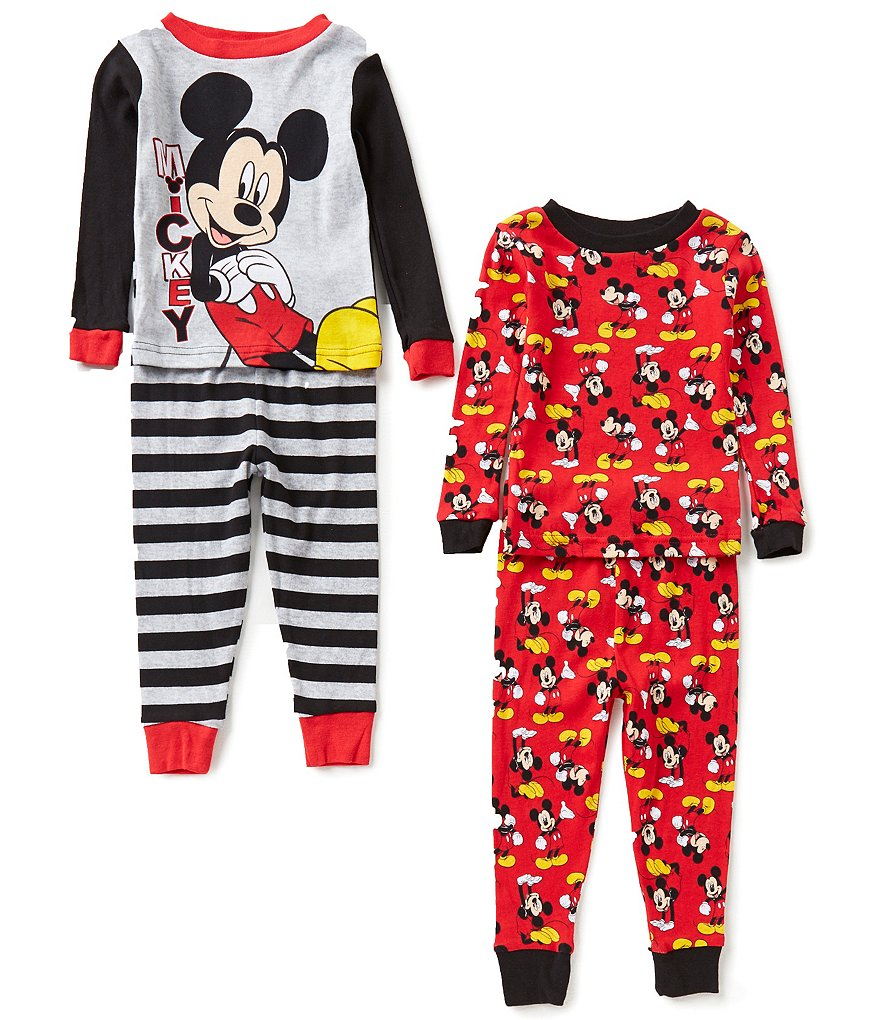 AME Mickey Mouse Little Boys 2T-4T Mickey Printed Top and Pants 4-Piece Pajama Sets