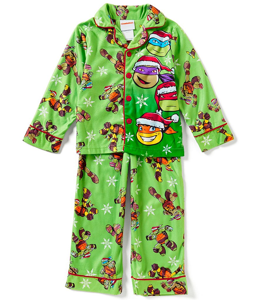 AME Ninja Turtles Little/Big Boys 4-10 Christmas Seasons Greetings Printed Top & Pants Pajama Set