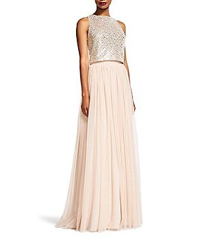 Adrianna Papell Two-Piece Sequined Halter Top Pleated Tulle Skirt