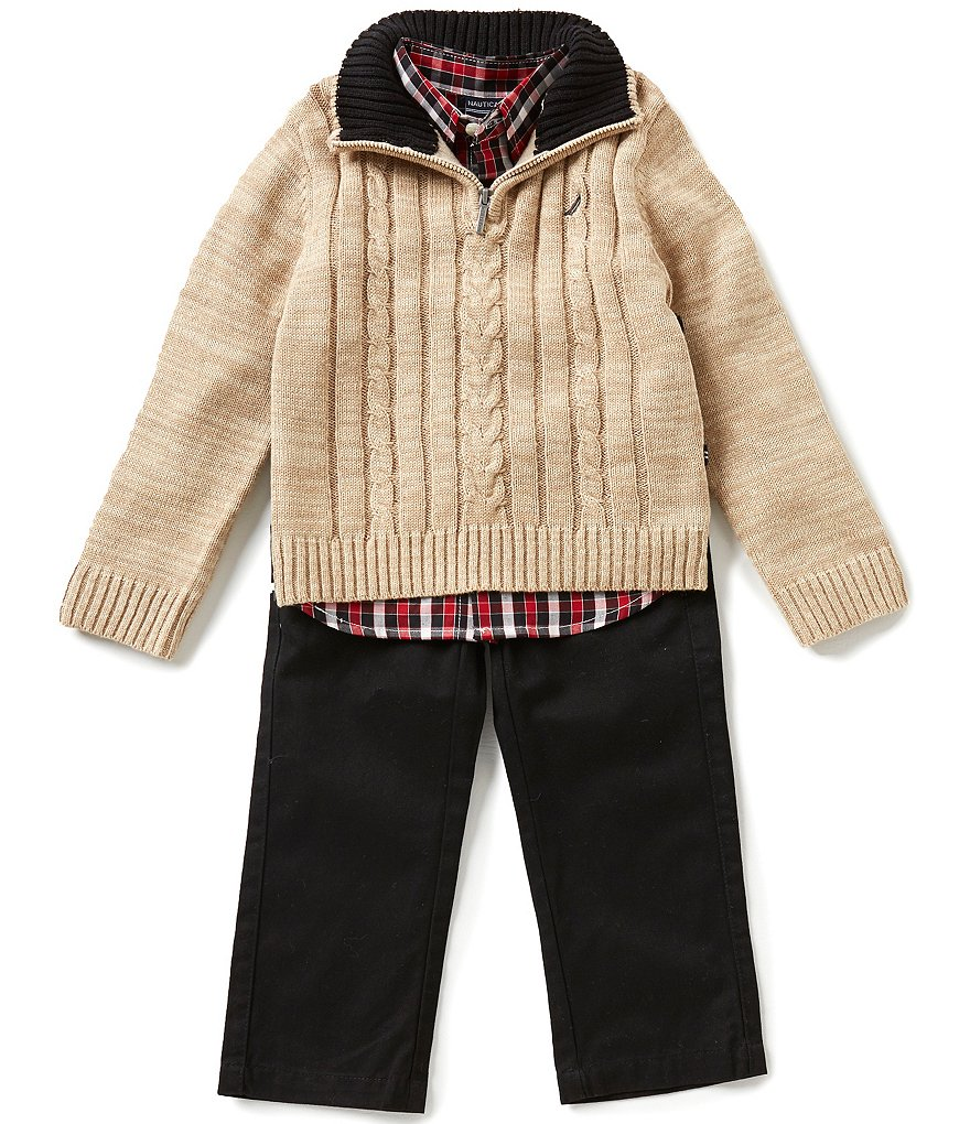Nautica Little Boys 2T-4T Half-Zip Cable-Front Sweater, Plaid Long-Sleeve Woven Shirt, & Twill Pants Set