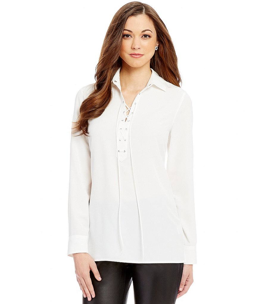Antonio Melani Jocelyn Point Collar Lace-Up Blouse