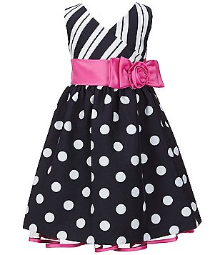 Bonnie Jean Little Girls 4-6X Mixed-Print Bow A-Line Dress