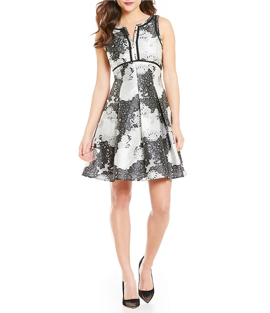 Antonio Melani Joy Sleeveless Printed Jacquard A-Line Dress