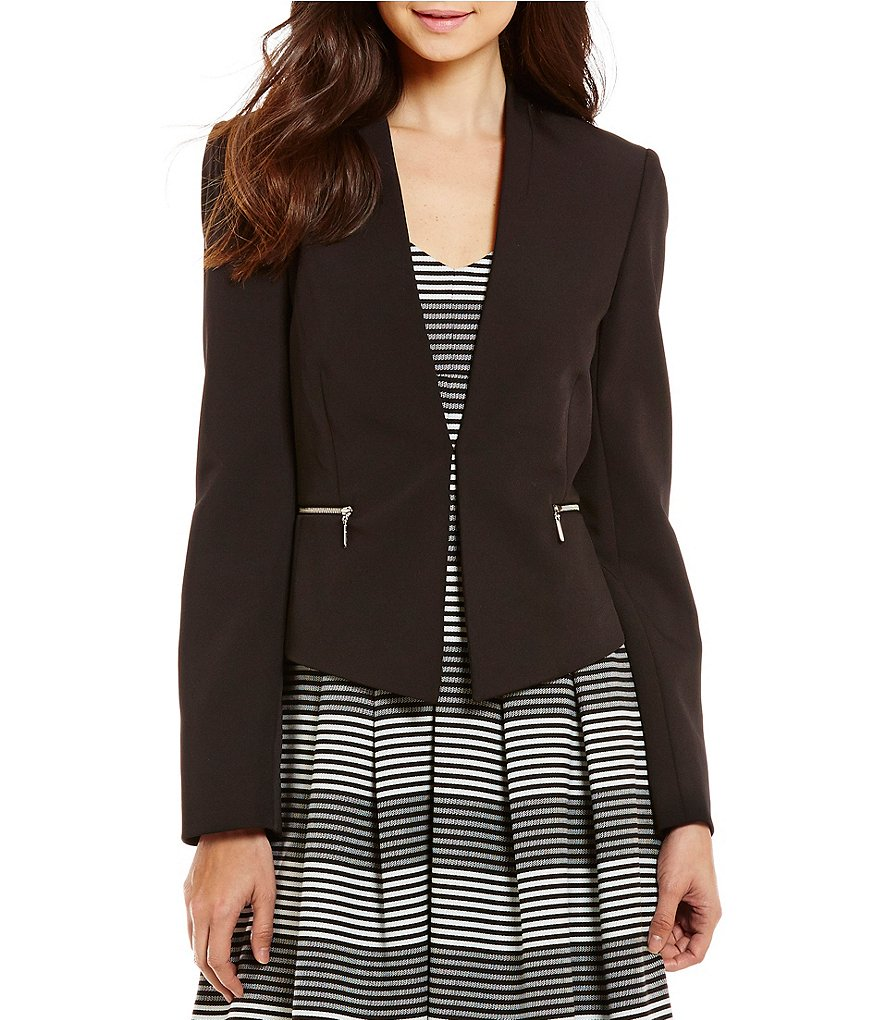 Antonio Melani Baha V-Neck Long Sleeve Solid Stretch Crepe Jacket